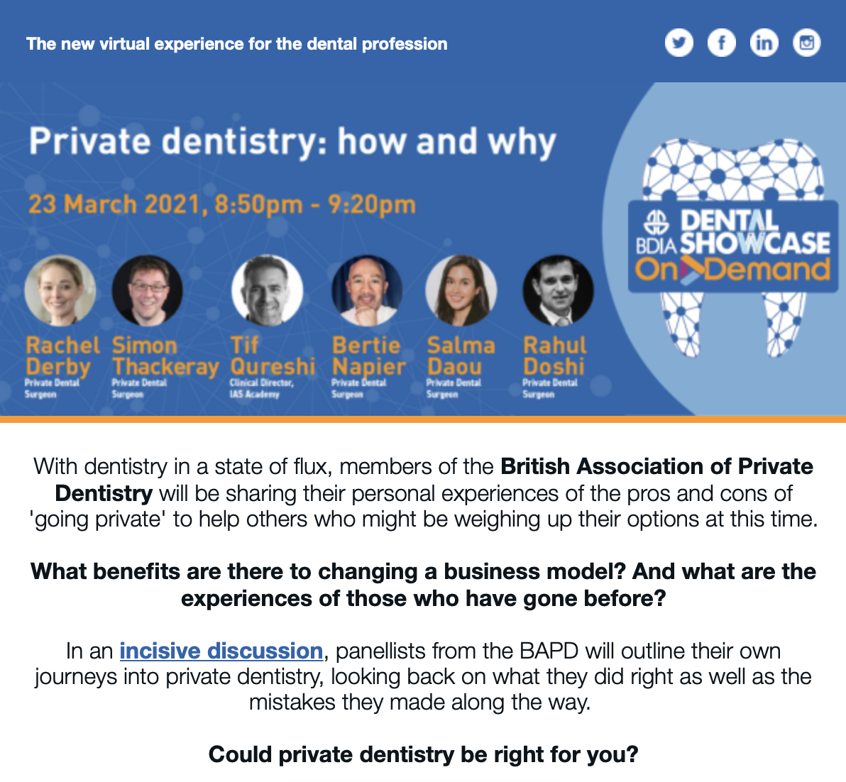 Private Dentistry Webinar